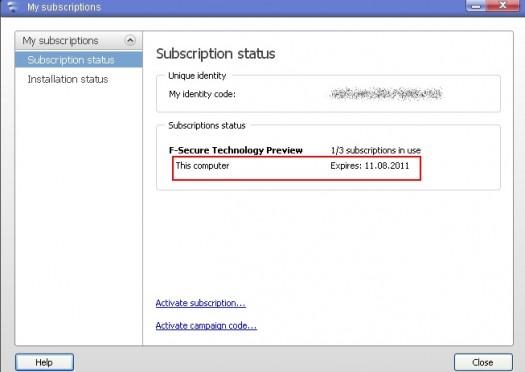 f-secure 2011 ключ на полгода!